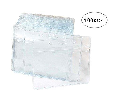 100 Piezas De Plástico Transparente De Nombre Horizontal De Identificación De La Insignia De Titulares De Tarjeta De Identificación
