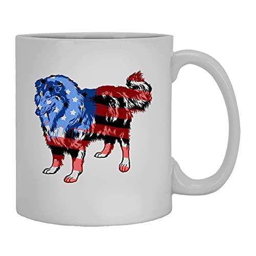 N\A Raue Collie-Flaggen-Tasse, keramische Kaffeetasse, weiße Tasse 11 Unze