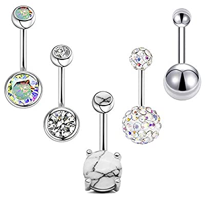 Stainless Steel Belly Button Rings - 5PCS 14G CZ Navel Rings Set, Idea Gift for Wife, Girlfriend, Daughter, Navel Wear Lovers, Belly Dancer or Daily Wear (A - Silver)