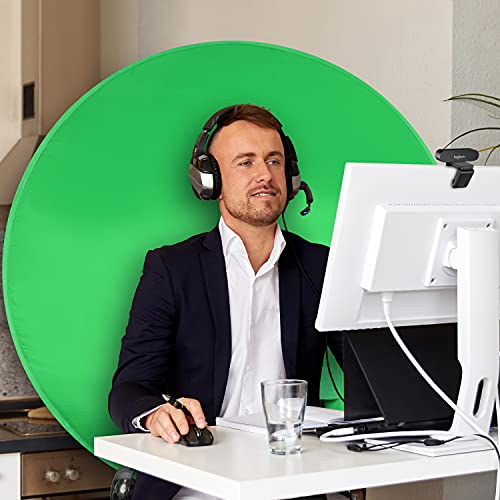 """Webaround Fan Favorite 52""""   Portable Collapsible Webcam Background   Video Chat   Web Conference   Green Screen Chair   Work from Home   Zoom Virtual Background   Skype   Twitch   OBS   Streaming"""