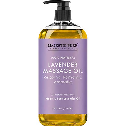good massage oils MAJESTIC PURE Lavender Massage Oil for Men and Women - Great for Calming, Soothing and to Relax - Blend of Natural Oils for Therapeutic Massaging and Aromatherapy - 8 fl oz.