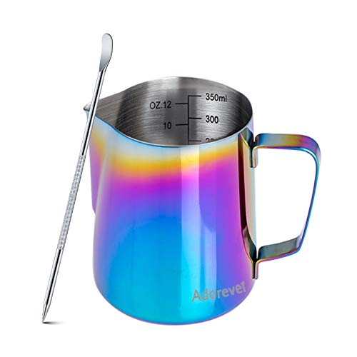Milk Frothing Pitcher Colorful 350ml (12oz) Steaming Pitchers Stainless Steel Milk Coffee Cappuccino Latte Art Barista Steam Pitchers Milk Jug Cup with Decorating Art Pen
