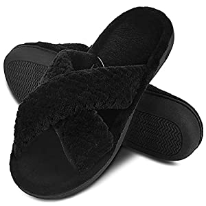 DL Women's Open Toe Slide Slippers, Memory Foam Slip on Home Shoes House Slippers for Women with Indoor Outdoor Anti-Skid Rubber Sole black Size: 7-8