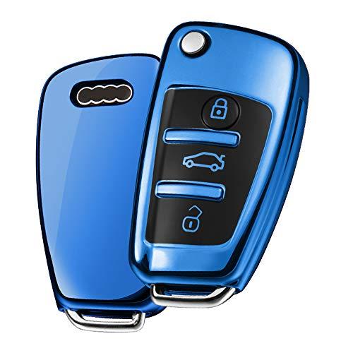 OATSBASF Autoschlüssel Hülle Geeignet für Audi,Schlüsselhülle Cover für A1 A3 A4 A6 Q3 Q5 Q7 S3 R8 TT Seat 3-Tasten Schlüsselbox (Blau-Streifen)