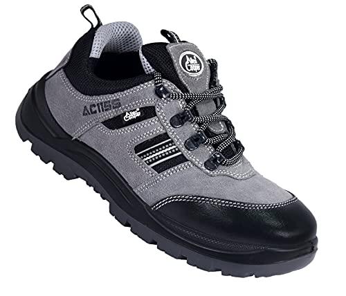 Allen Cooper 1156 Men's Safety Shoe, Size-7 UK, Grey (1 Pair Free Socks)