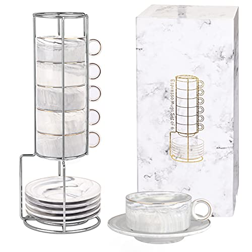 Espresso Mugs Set of 6 with Rack Marble Stackable Espresso Cups with Stand and Saucers Espresso Cups Set of 6 Demitasse Cups Designed for Espresso Cups and Saucers Sets 3 Ounce Gray