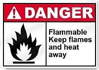 パブホームヴィンテージルック複製、インチ、可燃性炎と熱を遠ざける危険標識装飾注意バスルーム警告リビング警告飲用ガレージポスター