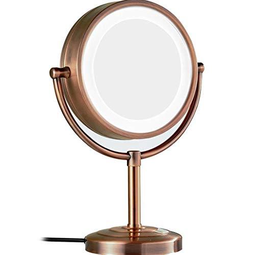 Miroir Maquillage, Coiffeuse Miroir grossissant LED Miroir double face pivotant à 360 ° pour salle de bain (Color : B, Size : 5X)