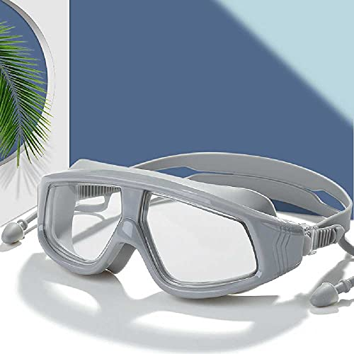 N\C Una sola pieza con tapones para los oídos Gafas de natación Adultos Hombres y Mujeres General Alta Definición Plana Silicona Gafas de natación gris plata