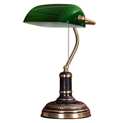 WMY Lámpara de banquero, Pantalla Verde Retro Bronce Lámparas de Escritorio Tradicionales Estudio de Oficina Diseños Simples Cuidado de los Ojos Luz de Lectura Negro