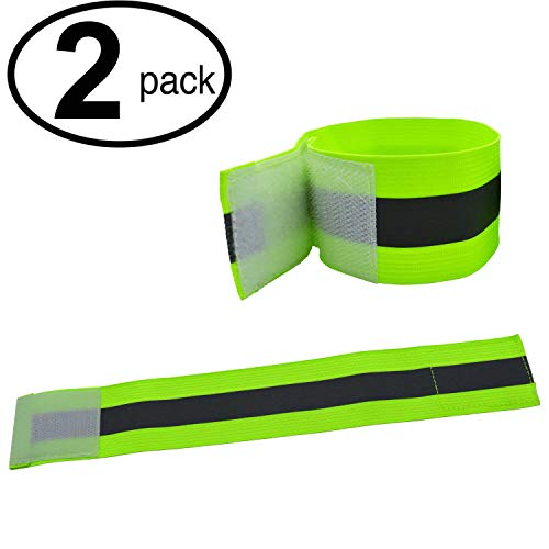 High Visibility Reflective Night Running Walking Elastic Strap Wristbands Ankle Bands Armbands Safety for Cycling Walking Running Camping Outdoor Sports-Fits Women, Men & Kids (1 Pairs / 2 Bands)