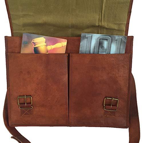 PL Leather Messenger Bag 16' / Brown Leather Briefcase/Retro Handbag/Satchel/Hip Bag/Shoulder Bag/Carry Bag/Cabin Travel Bag for Men and Women