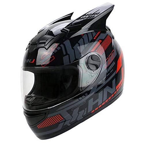 LJPHFF Casco De Moto Unisex Casco De EquipoDe MotocrossCasco De Motor De Cara Completa Cascopara Cabeza De 56-62 Cm,PulsoRojo Negro