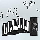 4YANG 88 Key Speaker Hand Roll Piano Piano portátil Enrollable a Mano portátil Teclado electrónico suave Roll Up The Piano con 128 ritmos y 128 tonos ideal para niños principiantes