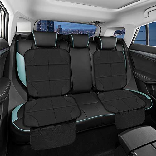 2 Stück Autositzschoner, Sitzschoner Auto Kindersitz, Kriogor Rutschfest und Wasserdicht Kindersitzunterlage Rückenlehne, Universell für alle Autos