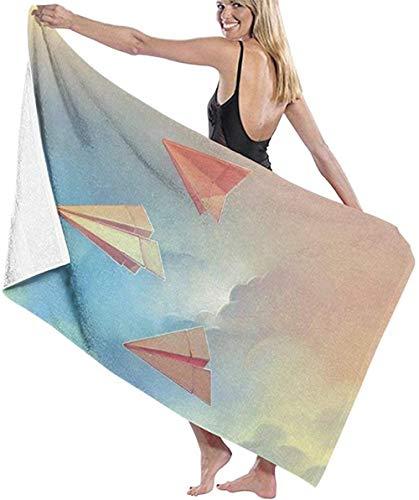 HSHY Strandtuch Papier Flugzeuge Origami Große Stranddecke Schnelltrocknen Extra Saugfähiges Sandfreies Handtuchhshy