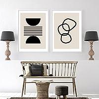 キャンバス絵画プリント壁アート抽象的な幾何学的な自由奔放に生きるスタイル花のポスターリビングルーム寝室オフィス家の装飾写真-40x60cmx2フレームなし