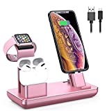 YoFeW 3 in 1 Charging Station for Apple Watch, iPhone and Airpods, Charger Stand Compatible with iwatch Series 5/4/3/2, iPhone 11 Pro Max/Xs/X Max/XR/X/8/8Plus/7/7 Plus, Airpods pro, Rose Gold
