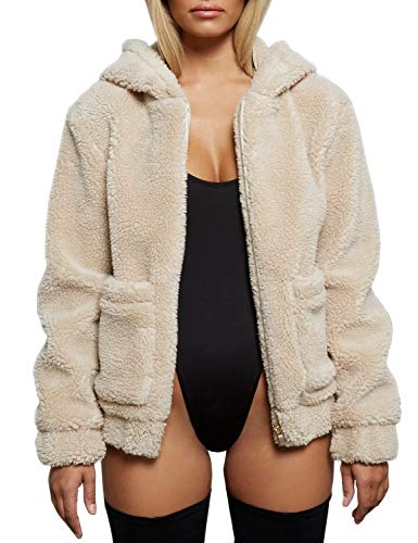 FANCYINN Teddy Mantel Damen Kapuze Kunstpelz Jacke Pelz Revers Mantel Reißverschluss mit Taschen Warm Winter Apricot XL