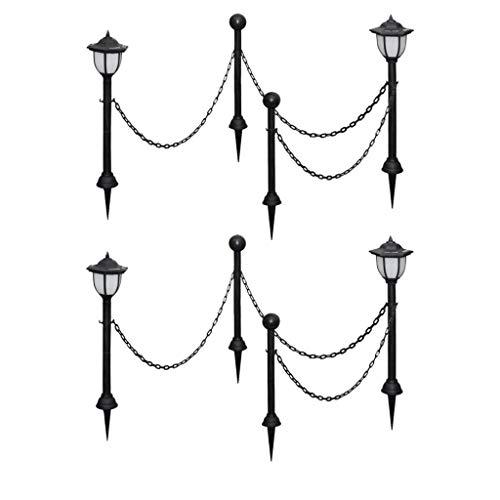 vidaXL - Lámpara solar (4 unidades, con cadena y estacas, iluminación de camino, iluminación de jardín, terraza, patio, patio, balcón, camino exterior