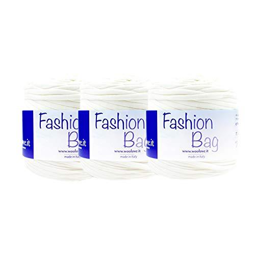 TRICOT CAFE' Offerta Fettuccia di Cotone per Uncinetto Fashion Bag 3pz 95% Cotone 5% Elasten/Bianco 1