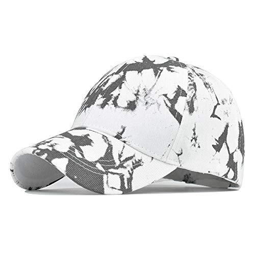 N/N Kappe Unisex Tie-Dyed Sonnenhut Verstellbare Baseballkappe Hip Hop Hut Kappe Für Männer Frauen Outdoor-Weiß_54-60Cm