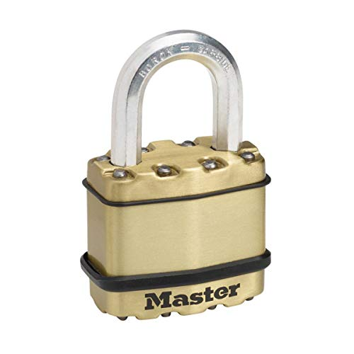 MASTER LOCK Heavy Duty Padlock [Key] [Laminated Steel / Brass Finish] [Weatherproof] M1BEURD - Best Used for Storage Units, Sheds, Garages, Fences