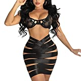 Sedrinuo Women 2 Piece Outfits Dress Sexy Bandage Bra Crop Top and Hollow Out Mini Skirts Club Outfits Black