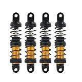 Nrpfell Amortiguador de Choque Hidráulico de Metal Ajustable de Aceite de 4 Piezas 70Mm para Coche de Escalada 1/10 Trx4 Scx10 90046 Dorado