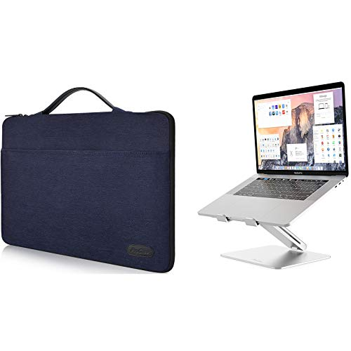 ProCase 12-12.9 Inch Sleeve Case Bag for Surface Pro X 2017/Pro 7 6 4 3, MacBook Pro 13, iPad Pro Protective Carrying Cover Bundle with Metal Laptop Stand, Ergonomic Aluminum Laptop Holder