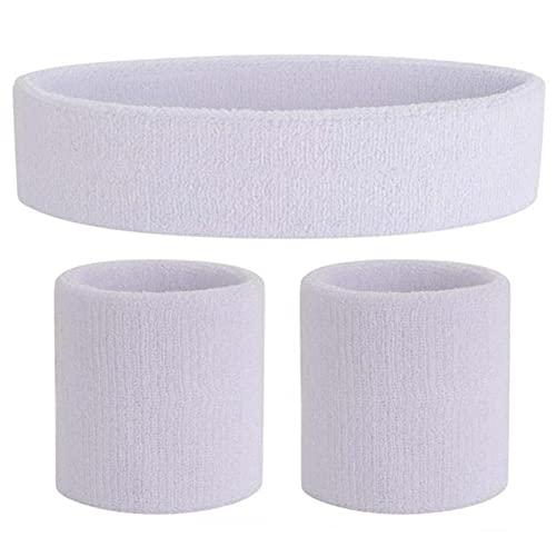 UKKO Sweatband Sports Headband Wristband Set Bandas de sudor elástico Head Wrap para hombres y mujeres Yoga Hair Bands Head Gym-Color blanco