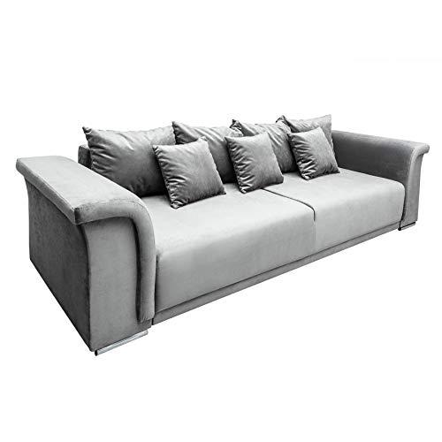 Riess Ambiente Big XL Sofa Bella 270cm hellgrau Samt Schlaffunktion Nosag Federung Schlafsofa Bettkasten Samtbezug Schlafcouch
