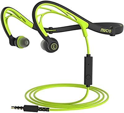 MUCRO Foldable Wired Sports Headphones, Running in Ear Stereo Earphones Neckband Design Headsets for Workout Jogging Gym(Green) from mucro
