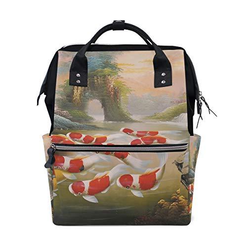 DEZIRO Canvas zwemmen Koi Carps Daypack voor vrouwen Rugzakken