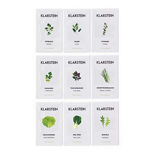 Klarstein GrowIt Seeds Lote de Semillas - 9 paquetitos, Asia: Cilantro, albahaca tailandesa, Allium tuberosum, Europa: tomillo, Salvia, perejil, Ensalada: lollo bionda, pak Choi, rúcula