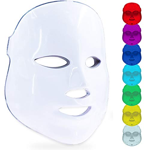 Led Face Mask, 7 Colors Led Light Photon Therapy Mask Beauty Proactive Whitening Skin Care Firming Skin Anti Aging Kit with US Plug