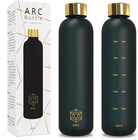 Black Water Bottle With Time Marker 32 OZ 1 Liter Motivational Reusable Water bottles BPA Free product image