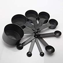 CHOUREN 10Pcs Baking Coffee Measuring Spoons Cups Tablespoon Tools Set Black,Variations:black One Size