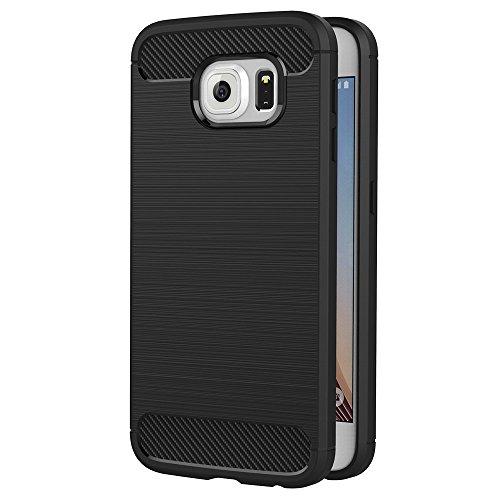 Hoesje voor Samsung Galaxy S6 (5,1 inch Scherm) Geborsteld Koolstofvezel TPU Schokbestendige Antislip Zachte Beschermende Case (Zwart)