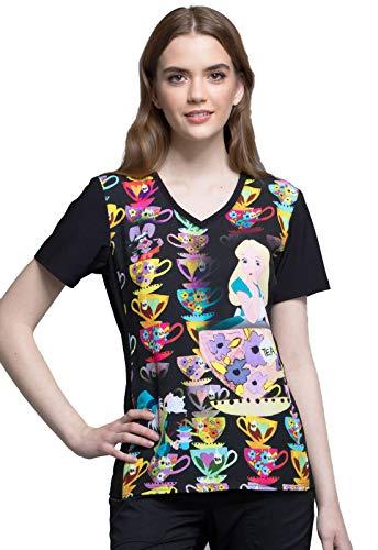 Tooniforms Wonderland Alice V-Neck Print Scrub Top