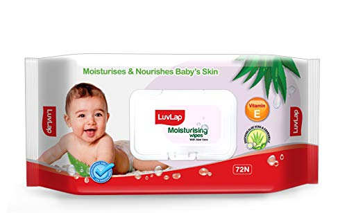 LuvLap Paraben Free Baby Wipes with Aloe Vera, with Fliptop Lid (72 Wipes/Pack)