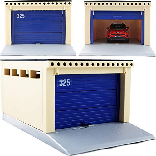 Toy Garage for Diecast Car Models 1/32 1/36 1/43 Scale - Classic American Parking Building with Lifting Gates - Constructor Playset for Kids 3 Years Old