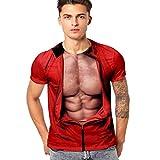 Xmiral T-Shirt per Uomo e Donna Girocollo Manica Corta Unisex Stampato in 3D Casual Tops Maglietta Allenamento XL Rosso