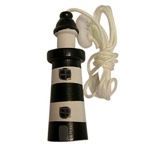 Seaside Nautical Theme Wooden Lighthouse Cord Pull Light Pull - Black