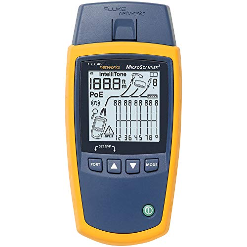 Fluke Networks MS2-100 MicroScanner2 Copper Cable Verifier with Built-In IntelliTone Toning, Troubleshoots RJ11, RJ45, Coax, Tests 10/100/1000Base-T, and VoiP
