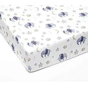 Sorrel + Fern – Crib Sheets for Standard Crib Mattress Premium Fitted Sheets – Buttery Soft Cotton Blend – Watercolor Elephants