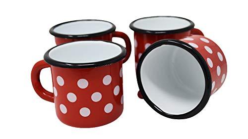 4 tazas de metal esmaltado rojo con lunares blancos – 250 ml