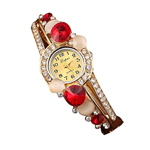 Yahunosu Flor Cristal Mujeres Reloj analógico de Cuarzo Reloj de Pulsera con Brazalete del Cristal de la aleación de Pulsera Batería incorporada
