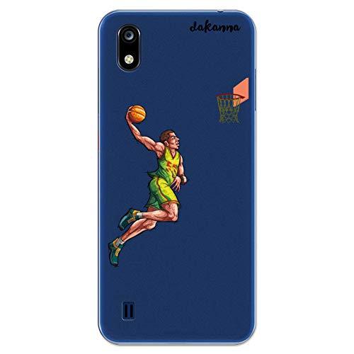 dakanna Funda Compatible con [ZTE Blade A7 2019] de Silicona Flexible, Dibujo Diseño [Jugador de Baloncesto], Color [Fondo Transparente] Carcasa Case Cover de Gel TPU para Smartphone
