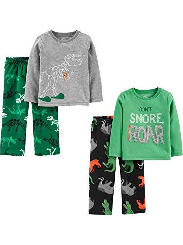 Simple Joys by Carter's 4-Piece Pajama Set (Poly Top & Fleece Bottom) Sets, Dinosaurios, 2 años,...